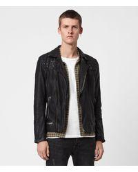 AllSaints Men's Leather Quilted Regular Fit Traditional Conroy Biker Jacket - Blue
