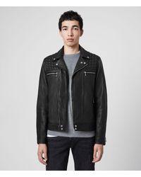 AllSaints Hearn Leather Biker Jacket - Black