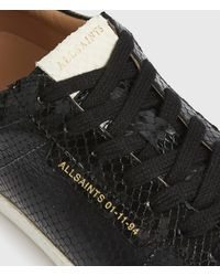 AllSaints Sheer Snake Leather Trainers - Black