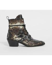 AllSaints - Katy Snake Boot - Lyst