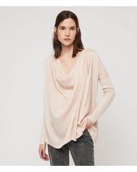 AllSaints Erma Cowl Neck Top - Pink