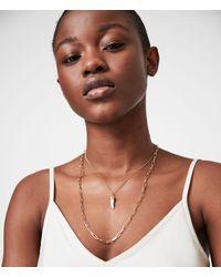 AllSaints Kim Gold-tone Double Layer Pendant Necklace - Metallic