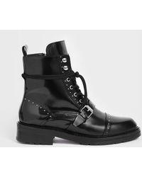aa98a299b1d304 AllSaints Franka Shearling Boot in Black - Save 50% - Lyst