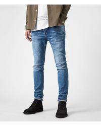 AllSaints Cigarette Damaged Skinny Jeans - Blue