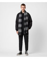 AllSaints Buffalo Check Wool Woven Scarf - Grey