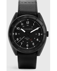 AllSaints Subtitled Gmt Iii Stainless Steel And Leather Watch - Black