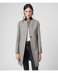 AllSaints Leni Check Coat - Grey