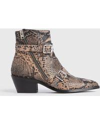 AllSaints Women's Leather Snakeskin Print Lior Boots - Brown