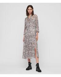 AllSaints Eley Midgard Snake Print Midi Dress - Grey