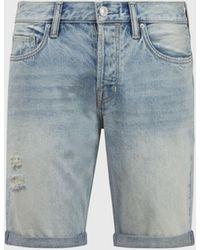 AllSaints Men's Cotton Switch Damaged Denim Shorts - Blue