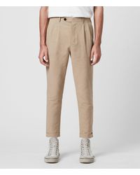 AllSaints Chiswell Linen Blend Cropped Slim Trousers - Natural