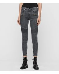 AllSaints Grace Biker Cropped Mid-rise Skinny Jeans, Washed Grey - Gray