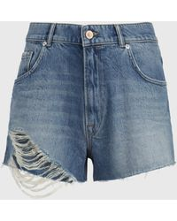 AllSaints Winnie Cut Off Shorts Womens - Blau