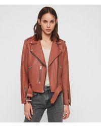 AllSaints Balfern Leather Biker Jacket Womens - Pink
