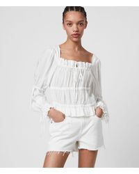 AllSaints Kimi Silk Blend Top - White