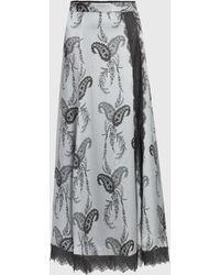 AllSaints Nysa Kashmir Silk Blend Skirt - Grey