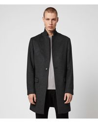 AllSaints Men's Wool Slim Fit Pure Classic Fully Lined Bodell Single Button Coat - Black