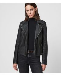 AllSaints Women's Leather Quilted Regular Fit Cargo Biker Jacket, Black And Gray, Size: 8