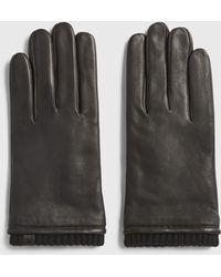 AllSaints Vester Leather Cuff Gloves - Black