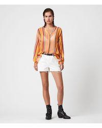 AllSaints Adra Stripe Shirt - Orange