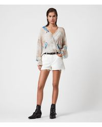 AllSaints Women's Serene Mid-rise Denim Shorts - White