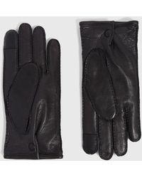 AllSaints Snap Leather Gloves - Black