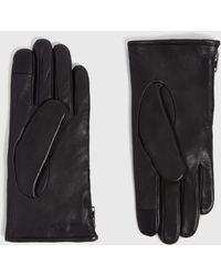 AllSaints Zipper Leder Handschuhe - Schwarz