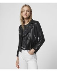 AllSaints Fia Leather Biker Jacket - Black