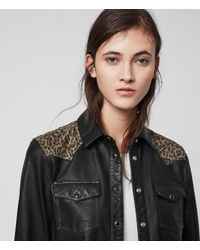 AllSaints Stanway Leo Leather Shirt - Black