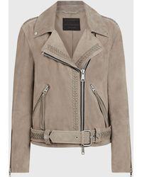 AllSaints Rosen Suede Biker Jacket - Brown