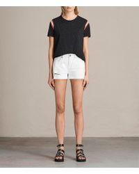 AllSaints - Serene Embroidered Denim Shorts - Lyst
