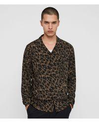 AllSaints Men's Cotton Leopard Print Lightweight Scratched-out Monteray Long Sleeve Shirt - Black