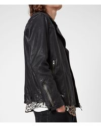 AllSaints Men's Leather Crinkled Effect Regular Fit Quilted Traditional Conroy Biker Jacket Navy Blue Size: Xxl