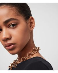 AllSaints Hexlink Gold-tone Necklace - Metallic
