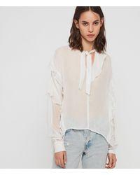 AllSaints Sofia Ruffled Tie - Neck Top - White