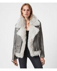 AllSaints Luna Shearling Biker Womens - Grey