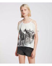 AllSaints - Riders Slash Shoulder T-shirt - Lyst