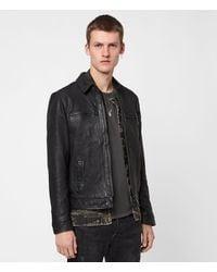 AllSaints Men's Leather Fully Lined Goat Regular Fit Classic Lark Jacket - Black