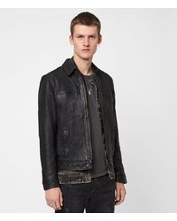 AllSaints Men's Leather Fully Lined Goat Regular Fit Classic Lark Jacket - Black