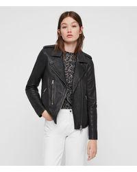 AllSaints Women's Regular Fit Elva Leather Biker Jacket, Black