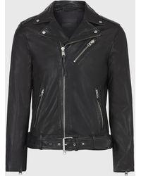 AllSaints Men's Slim Fit Rigg Leather Biker Jacket - Black