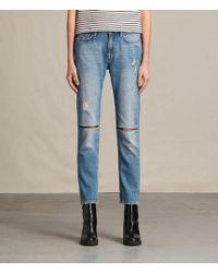9699c1f981 AllSaints - Slit Boyfriend Jeans Usa Usa - Lyst