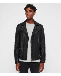 AllSaints - Men's Leather Regular Fit Traditional Conroy Biker Jacket Navy Blue Size: L - Lyst