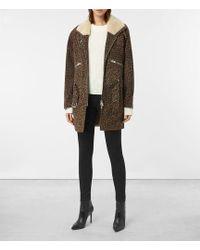 AllSaints Leopard Collins Suede Coat - Brown
