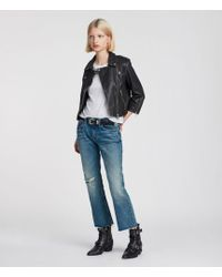 AllSaints - Lara Leather Biker Jacket - Lyst