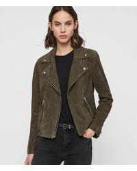 AllSaints Dalby Suede Biker Jacket - Green