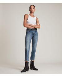 AllSaints Barely Step Hem High-rise Bootcut Jeans - Blue