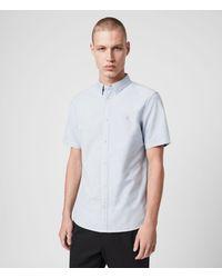 AllSaints Huntingdon Short Sleeve Shirt - Blue