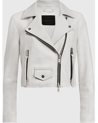 AllSaints Elora Leather Biker Jacket - White