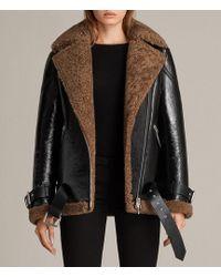 AllSaints Hawley Oversized Shearling Biker Jacket - Black